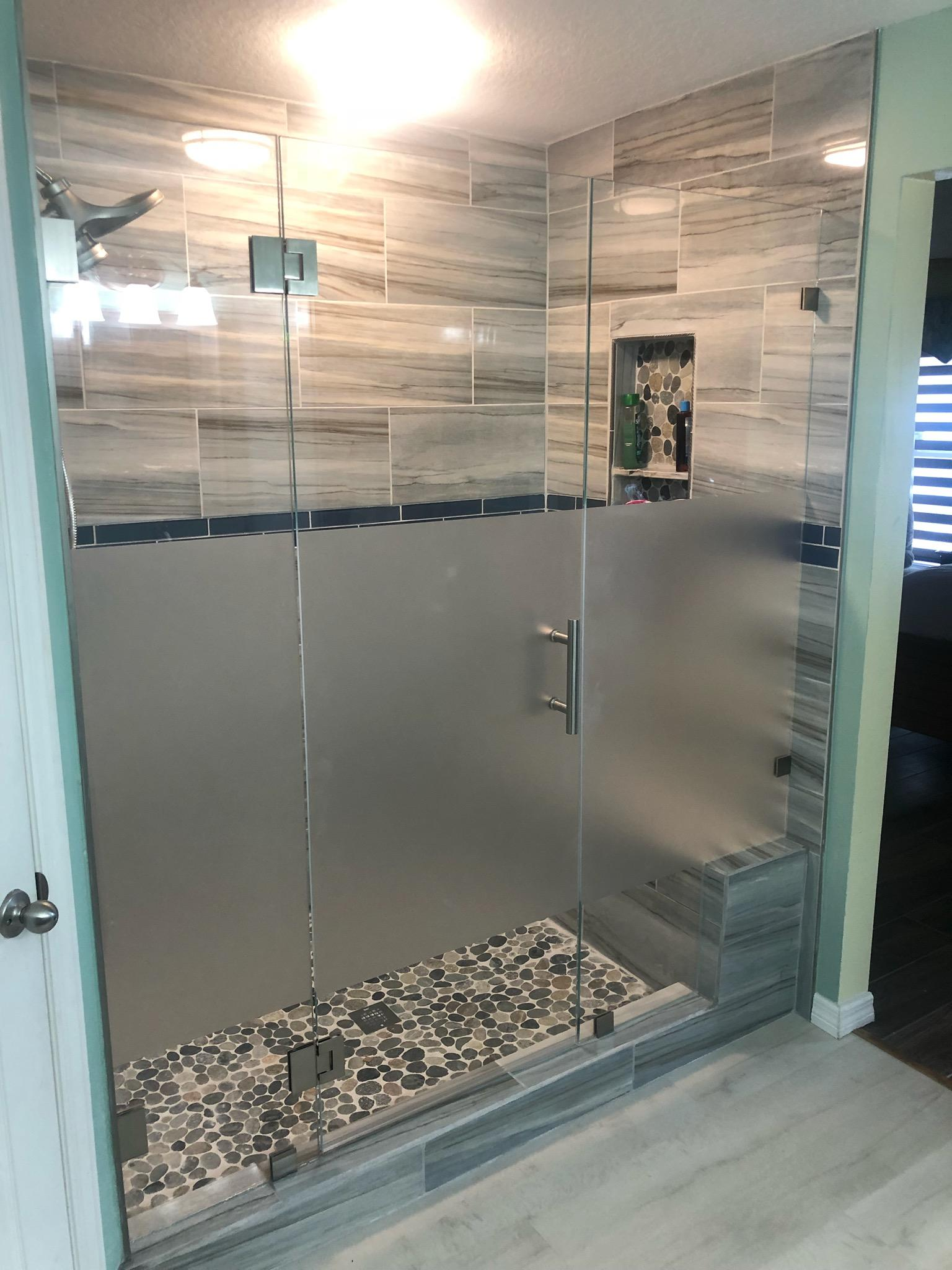 Frameless Unit With Privacy Strip Jv Shower Doors And More